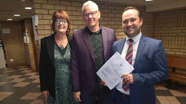 Myrtle Clarke, Jules Stobbs and their lawyer, Ricky Stone. Picture: Zelda Venter