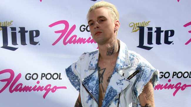 Aaron Carter performs live at the Flamingo Go Pool at the Flamingo Hotel & Casino in Las Vegas. Picture: Bang Showbiz