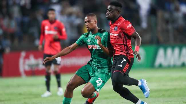 Gabadinho Mhango, seen here in a tussle with Tshepo Gumede of AmaZulu, was menacing on attack for Orlando Pirates. Photo: BackpagePix