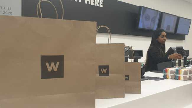 Woolworths has announced its first trial of specially-designed paper bags for fashion, beauty and homeware purchases. Photo: File