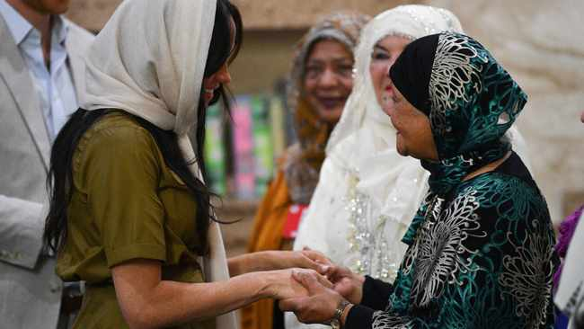 Meghan Markle, Duchess of Sussex, visits Auwal Mosque, the first and oldest mosque in South Africa. Picture: Tim Rooke/Pool via REUTERS