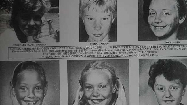 An old newspaper clipping of the six girls believed to have been abducted by Gert van Rooyen and Joey Haarhoff.