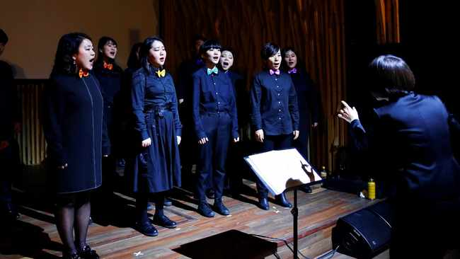 Members of Unnie Choir, a group that pushes for LGBTQI+ rights through singing, perform at a concert in Seoul, South Korea December 15, 2019. Picture: Unnie Choir/Reuters