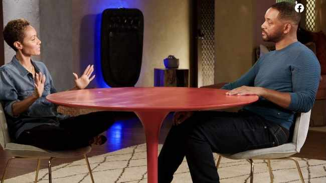 Jada Pinkett Smith and husband Will Smith sit around The Red Table. Screengrab