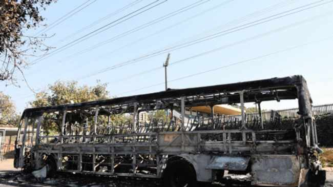 09/09/2014 A burned bus that was allegedly burned by protesting student TUT main campus.  Picture: Phill Magakoe