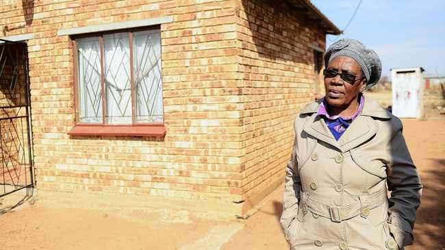 386 14.07.2015 Selina Swarts 56 who's to two children Patricia and Lazarus were allegedly fronted by Zevoli Industrial Supplies at her RDP house in Tumahole township in Parys Freestate. Picture: Motshwari Mofokeng