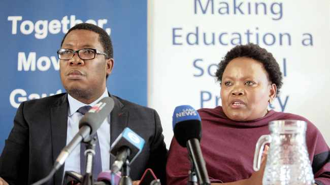 MEC of Education Panyaza Lesufi and MEC for Community Safety Sizakele Nkosi-Malobane at the Unity Secondary School in Daveyton, where an alleged gangster was apprehended and severely beaten in full view of learners and teachers. The boy was then dragged to an open field 500m from the school and necklaced.Picture: Nhlanhla Phillips/African News Agency (ANA)
