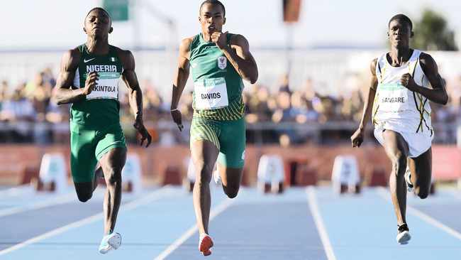 Luke Davids of South Africa wins the mens 100m and the gold medal on the fifth day of the 2018 Youth Olympic Games athletics programme in Buenos Aires on Monday. Photo: Roger Sedres  CanonSA/Africa News Agency/ANA