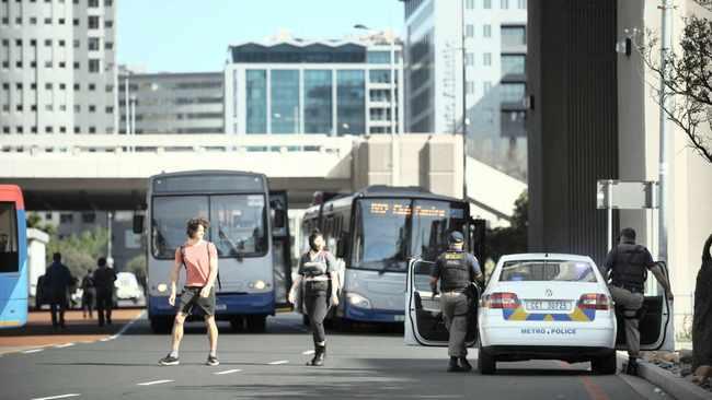 MyCiti bus employees were forced out of their buses at the Civic Centre by their colleagues.     Photo: Phando Jikelo / African News Agency (ANA)
