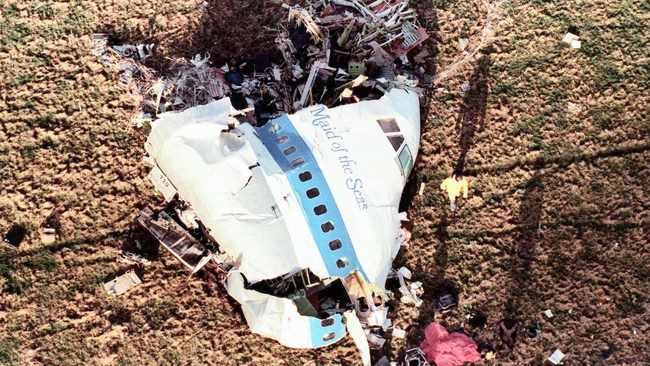 The nose of Pan Am Flight 103 lies in a field outside the village of Lockerbie, Scotland.     AP African News Agency (ANA) Archives