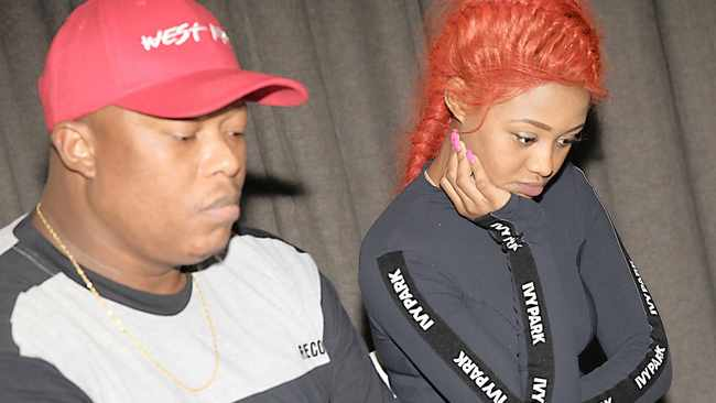 MAMPINTSHA and Babes Wodumo addressing the media at a Durban hotel in 2017. Picture: African News Agency (ANA) Archives