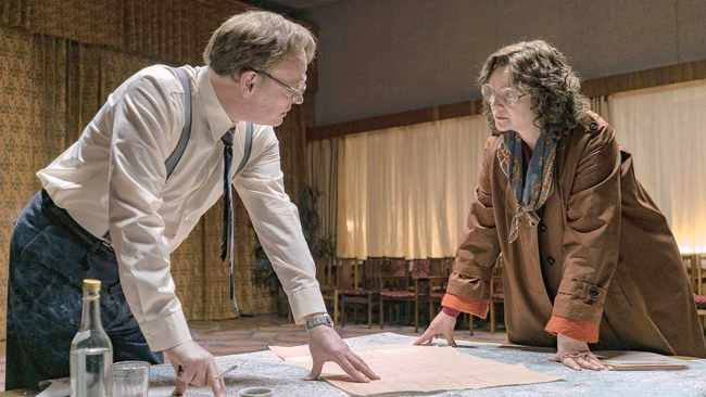Jarred Harris as Valery Legasov with Emily Watson as Ulana Khomyuk in a scene from Chernobyl. Picture: Supplied