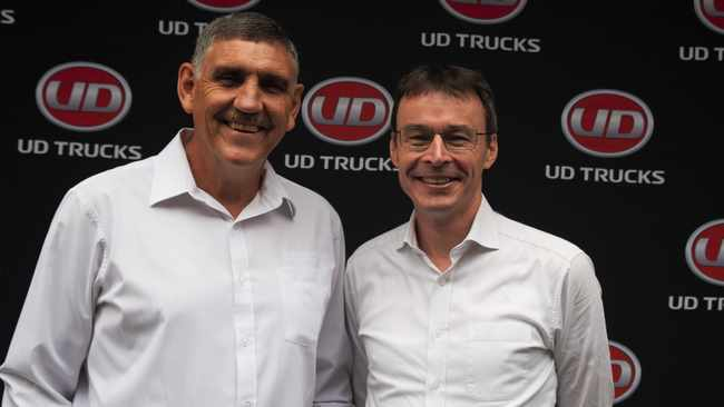 Outgoing UD Trucks Southern Africa managing director Gert Swanepoel, left, with newly-appointed MD Filip Van den Heede, right.