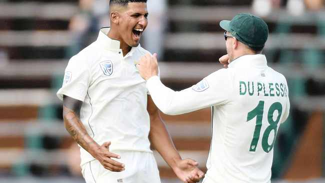 Beuran Hendricks celebrates a wicket during a Test match against England. Picture: Reuters