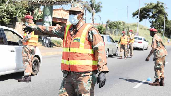 Soldiers conduct a roadblock in uMlazi after President Cyril Ramaphosa declared a national 21-day lockdown to flatten coronavirus infection rates. Picture: Zanele Zulu/ANA
