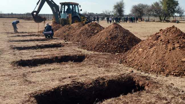 As Covid-19 infections continue to rise in Gauteng and the country, a burial site with capacity for 24000 graves is being prepared at the Honingnestkrans Cemetery, north of Pretoria. Picture: ANA
