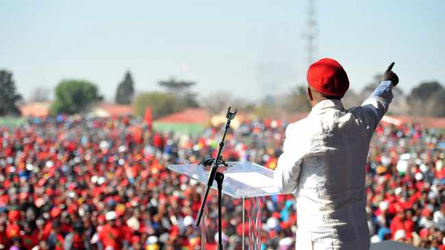 EFF leader Julius Malema addresses thousands of party supporters ahead of Youth Day celebrations at Boipatong Stadium in the Vaal. Picture: Itumeleng English