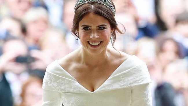 The blushing bride Princess Eugenie. (Image: Instagram)