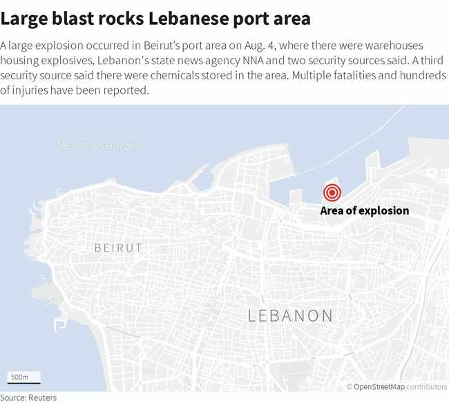 8cef51f2 3c65 593e b8ef 834c3d74aedd - PICS: Death toll in Beirut blast rises to over 50, thousands injured, says Lebanon health minister