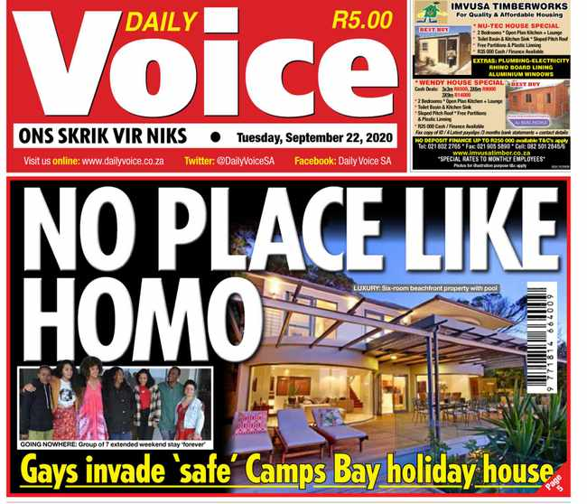 Camps Bay invaders fear being kicked out of fancy holiday house, Newsline