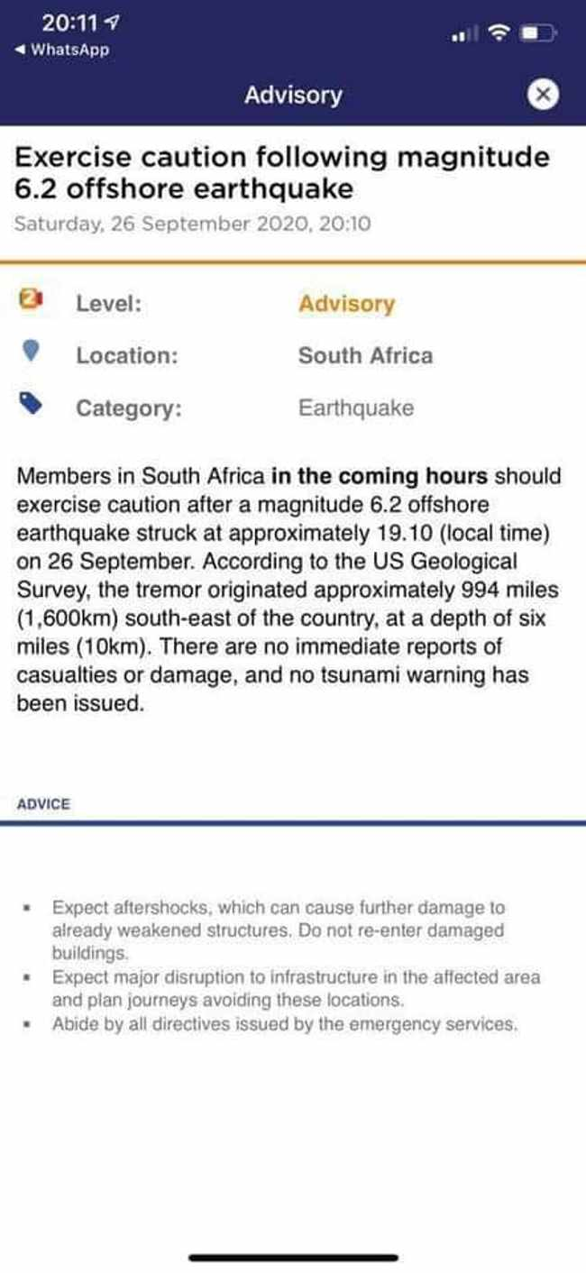 Tremors felt in Cape Town after 6.2 earthquake south of Africa, Newsline