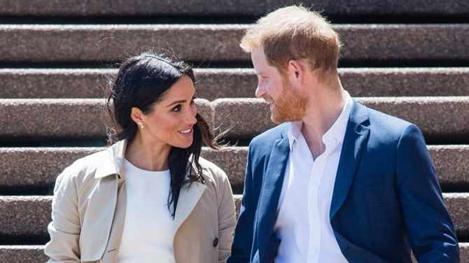 Prince Harry, the Duke of Sussex and Meghan, the Duchess of Sussex take part in a public walkabout at the Sydney Opera House. Picture: Bang Showbiz
