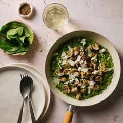 Recipe: David Higgs' Emerald Risotto with goat's cheese, truffle zest & mushrooms