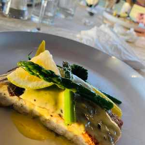 Pan-fried seabass and al denté baby vegetables by Athi the Chef