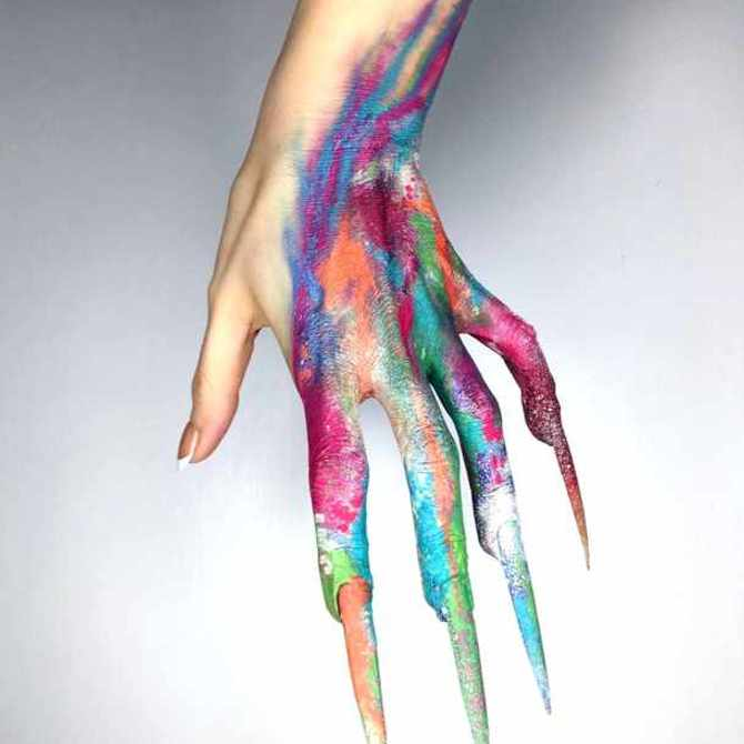 Hauntingly pretty hand art with nothing but crystals